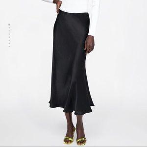 ZARA Black Satin Midi Skirt